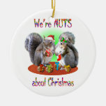 Squirrel Christmas Nuts Double-Sided Ceramic Round Christmas Ornament