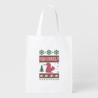 Squirrel Christmas Reusable Grocery Bag