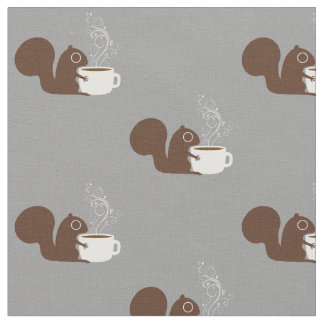 Squirrel Coffee Lover Fabric