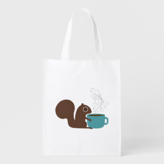 Squirrel Coffee Lover Reusable Grocery Bag