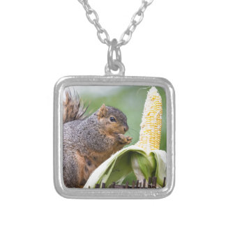 Squirrel Corn Silver Plated Necklace