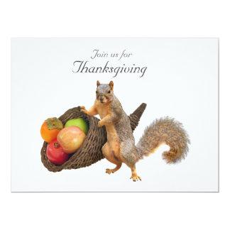 Squirrel Cornucopia Thanksgiving Invitation