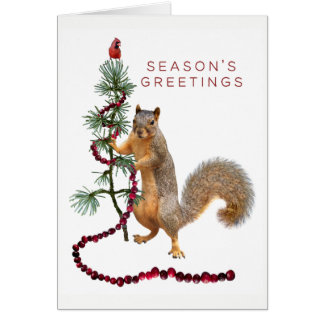 Squirrel Cranberry Garland Season's Greeting Card