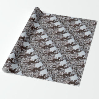 Squirrel Design Wrapping Paper Brown Autumn