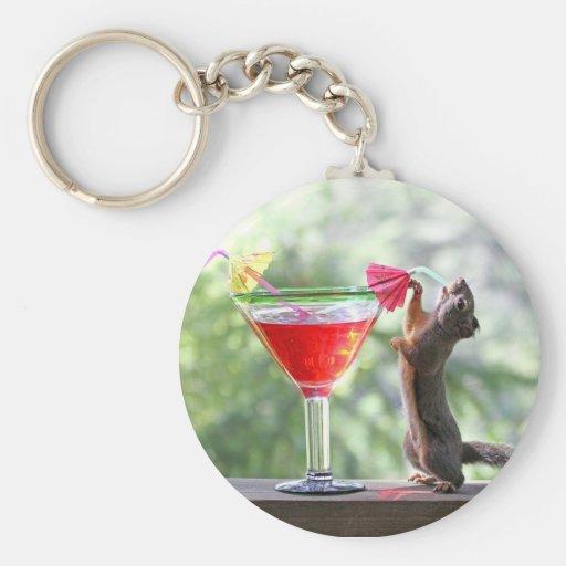 Squirrel Drinking Tropical Drink Keychains