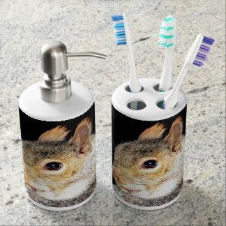 Squirrel eating a nut bathroom set