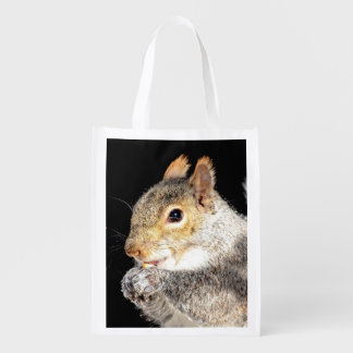 Squirrel eating a nut reusable grocery bag