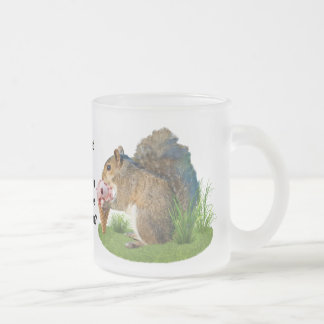 Squirrel Eating Ice Cream Cone Frosted Glass Mug