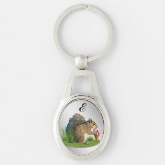 Squirrel Eating Ice Cream Cone, Monogram Silver-Colored Oval Metal Keychain