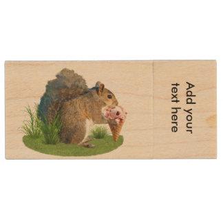Squirrel Eating Ice Cream Cone Wood USB Flash Drive
