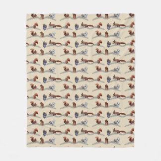 Squirrel Frenzy Fleece Blanket (Cream)