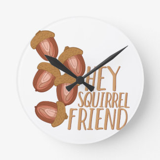 Squirrel Friend Round Clock