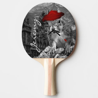 Squirrel Funny Painter with Name Ping Pong Paddle