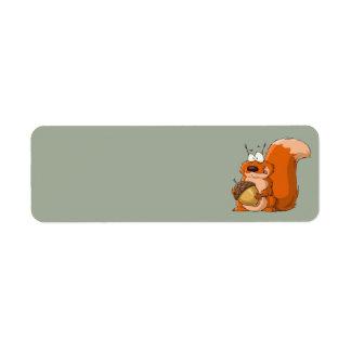 squirrel holding acorn address labels