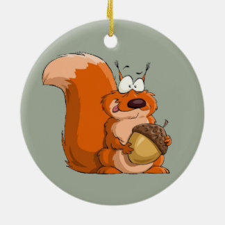 SQUIRREL HOLDING ACORN CERAMIC ORNAMENT