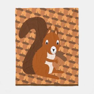 Squirrel Holding Acorn Fleece Blanket