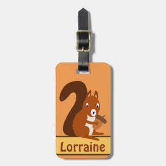 Squirrel Holding Acorn on Luggage Tag