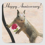 Squirrel Holding Rose Anniversary Square Stickers