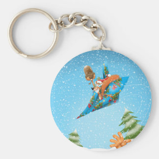 Squirrel in a Christmas paper aeroplane Basic Round Button Key Ring