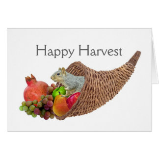 Squirrel in Cornucopia Harvest Card