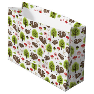 Squirrel in The Oak Forest Pattern Large Gift Bag