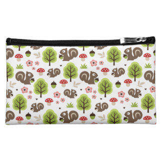 Squirrel in The Oak Forest Pattern Makeup Bag
