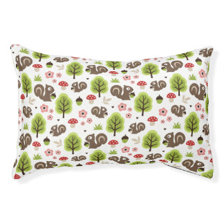 Squirrel in The Oak Forest Pattern Pet Bed