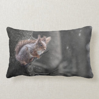 Squirrel in the snow lumbar cushion