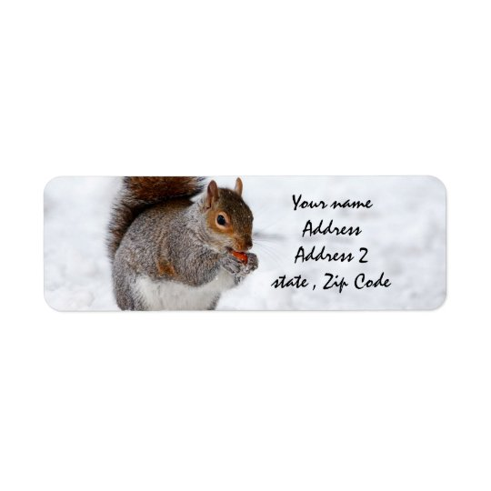 Squirrel in the snow return address label
