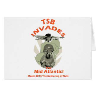 Squirrel Invades Mid Atlantic orange lettering Greeting Card
