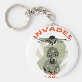 Squirrel Invades Mid Atlantic orange lettering Basic Round Button Keychain