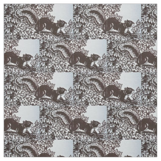 Squirrel Leaves Design Fall Brown and White Fabric