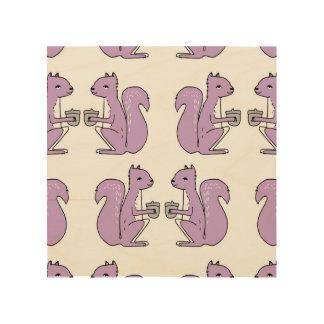 Squirrel - Lilac Pastel Purple / Andrea Lauren Wood Print
