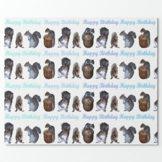 Squirrel Lineup Blue Hues Birthday Wrapping Paper