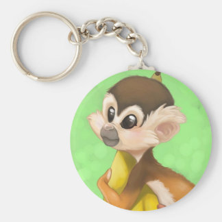 Squirrel Monkey with Banana Basic Round Button Key Ring