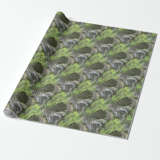 Squirrel next to a tree with green grass wrapping paper