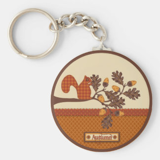 Squirrel on Branch Applique-look Thanksgiving Key Ring