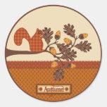 Squirrel on Branch Applique-look Thanksgiving Stickers