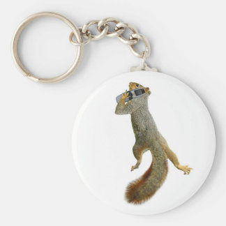 Squirrel on Cell Phone Round Keychain