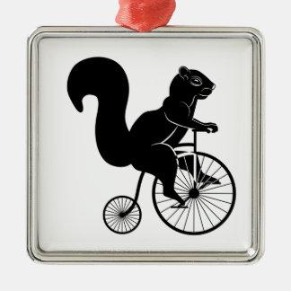 Squirrel or Chipmunk riding on a Bike Metal Ornament
