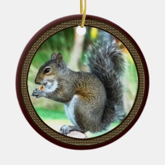 Squirrel Ornaments Encircled by Acorns