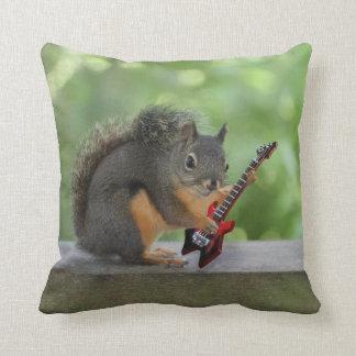 Squirrel Playing Electric Guitar Cushion