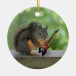 Squirrel Playing Electric Guitar Ornament