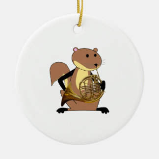 Squirrel Playing the French Horn Christmas Tree Ornaments