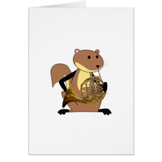 Squirrel Playing the French Horn Greeting Card
