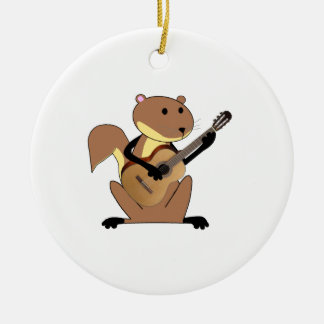 Squirrel Playing the Guitar Christmas Tree Ornaments