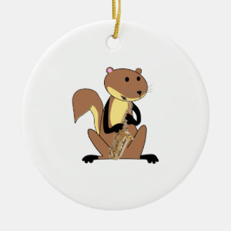 Squirrel Playing the Saxophone Ornament