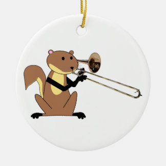 Squirrel Playing the Trombone Christmas Tree Ornament