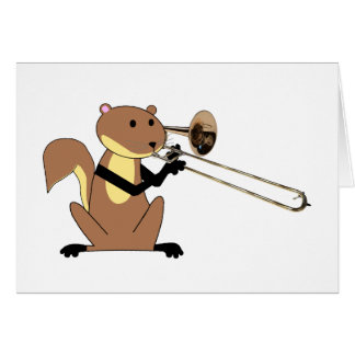 Squirrel Playing the Trombone Greeting Card