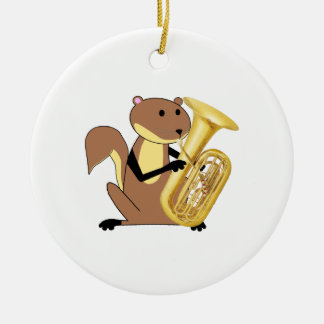 Squirrel Playing the Tuba Christmas Ornament